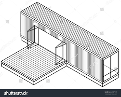 3d lineart drawing housebuilding made out stock vector 454307599