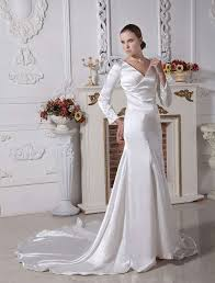 Bella Wedding Dress Bella Wedding Dress Ivory Elastic Woven Satin Vneck Sheath