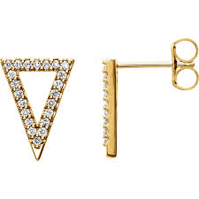 triangle stud earrings gold diamond triangle stud earrings