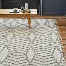 Dhurrie Rugs Definition Diamond Stripe Wool Dhurrie Ivory West Elm