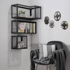 industrial wall shelving squirrel decoration wall shelf u0026 rack 2 units texture black