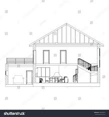 architectural background crosssection suburban house vector stock