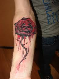 roses bleeding skull and the crow tattoos in 2017 real photo