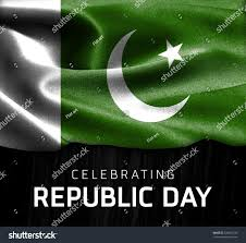 Green Day Flag Pakistan Flag Celebrating Republic Day Typography Stock Photo