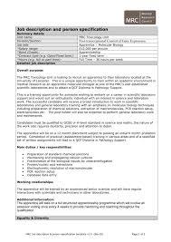 job description and person specification template