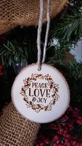 peace love and joy christmas ornament engraved wood slice