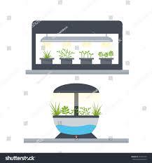 concept indoor garden light grow garden stock illustration
