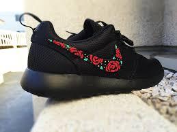 nike roshe design nike roshe custom design floral design roses painted gold