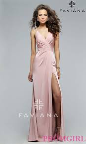 faviana v neck open back long dress promgirl