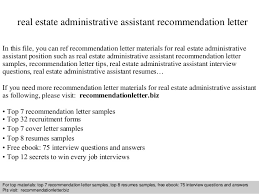 Realtor Resume Samples by Real Estate Administrative Assistant Recommendation Letter