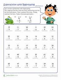 review subtraction with regrouping subtraction worksheets