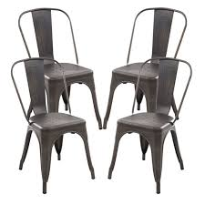 Tolix Bistro Chair Poly And Bark Tolix Bistro Dining Side Chair Set Of 4 Bronze