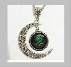 snake pendant necklace images Salazar slytherin snake moon necklace glass art jpg