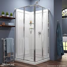 shop shower stalls kits at lowes com dreamline cornerview white wall acrylic floor square 3 piece corner shower kit actual