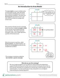 an introduction to area model worksheet education com