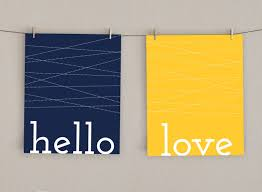 hello love home decor art print navy blue and mustard yellow