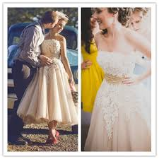 casual chagne wedding dresses 2016casual vintage lace organza chagne colored tea length
