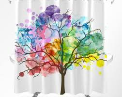 Shower Curtain With Tree Design Shower Curtain Etsy