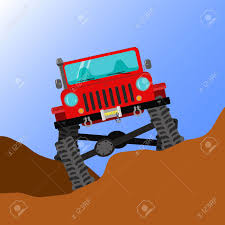 cartoon jeep front modified off road car running through rough terrain front view
