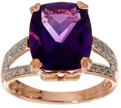 amethyst diamond engagement ring elongated cushion african amethyst u0026 diamond ring 14k 4 00 ct