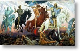 four horsemen of the apocalypse metal print by victor vasnetsov