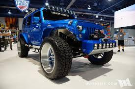 jeep truck 2017 2017 sema truck hero n fab blue jeep jk wrangler unlimited