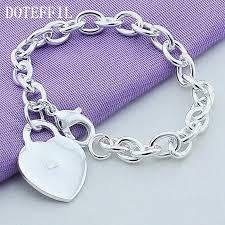 woman bracelet images Heart charm bracelet high quality 925 sterling silver women fine jpg