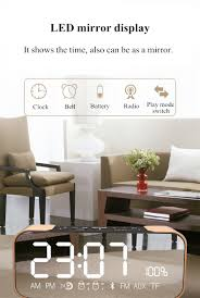 Living Room Bluetooth Speakers Ifkoo Q8 2 4w 2500mah Mirror Led Display Alarm Clock Wireless