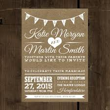 vintage wedding invitation vintage bunting kraft effect white text wedding invitation