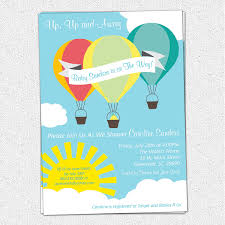 air balloon baby shower invitations boy or