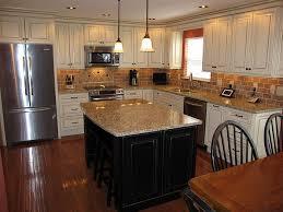 splendid antique white kitchen cabinets with dark island also