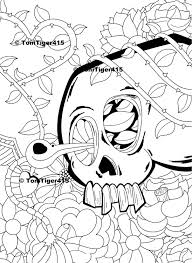 skull coloring page skull and hummingbird art instant