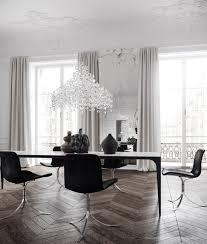parisian apartment dining room open space chevron wood floors