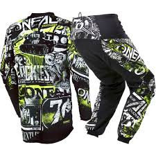 motocross gear set new oneal 2018 mx element attack black hi viz jersey pants