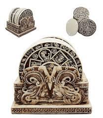 aztec gods warrior rank symbols set of 6 beverage coasters with