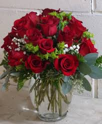 roses and hearts hearts on 18 roses arranged in a clear vase in montgomery ny