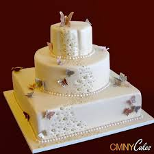 Gold Dragees And Butterflies Wedding Cake Cmny Cakes