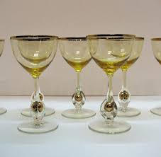 vintage cocktail set vintage set of 7 atlas liquor cocktail glasses golden ball in stem