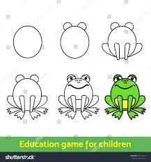 frog drawing process kids coloring learning stock vector 587741024
