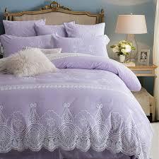 light purple lace embroidered bedding set princess romantic duvet