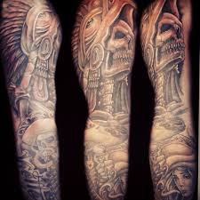 awful aztec skull sleeve design tattooshunt com