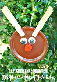 Homemade Christmas Ornaments Mason Jar Lid Reindeer The