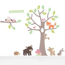 Wallpaper Decal Theme Pastel Forest Friends Wall Stickers By Parkins Interiors
