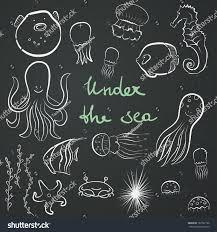 set hand drawn sea dwellers funny stock vector 187392128
