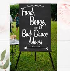 wedding backdrop sign food booze and bad poster wedding ceremony sign
