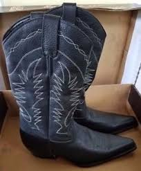 s boots size 12 womens boterine botas black leather cowboy boots
