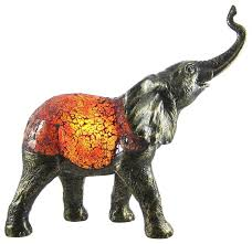 amber crackle glass elephant accent lamp bronzed base traditional