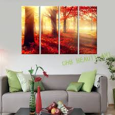 popular maple tree art buy cheap maple tree art lots from china 4 piece modern canvas art sunshine autumn maple tree wall art picture for bedroom canvas print