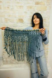 Macrame Home Decor by Macrame Wall Hanging The Jeans Color Blue Macrame Modern