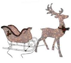 Grapevine Christmas Reindeer Decorations by Lighted Pre Lit Grapevine Reindeer U0026 Sleigh Set Outdoor Christmas
